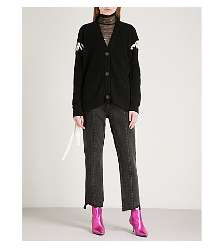 MO&CO. Tie-up wool cardigan (Black