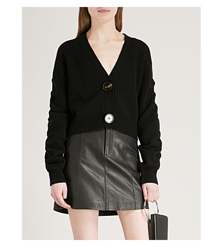 MO&CO. V-neck wool cardigan (Black