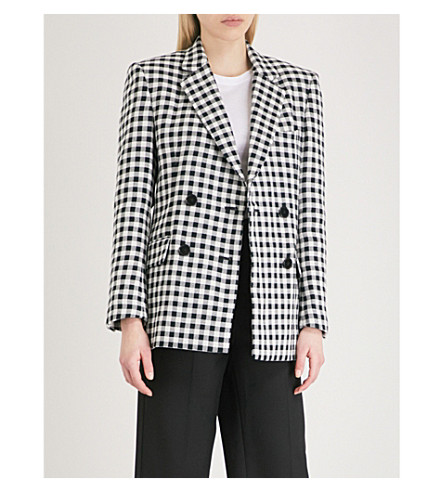 MO&CO. Gingham double-breasted cotton jacket (Black+and+white