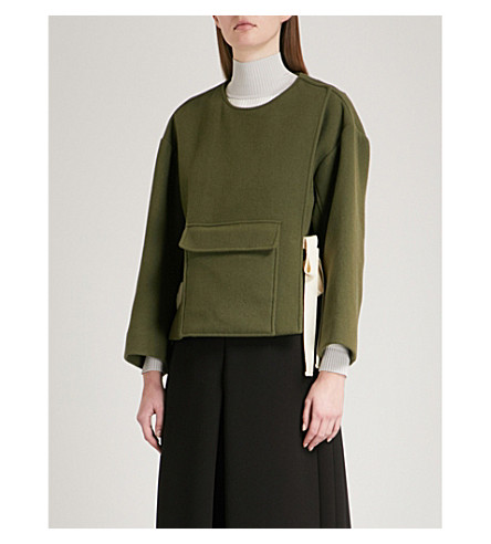 MO&CO. Pocket-detail wool-blend coat (Cypress