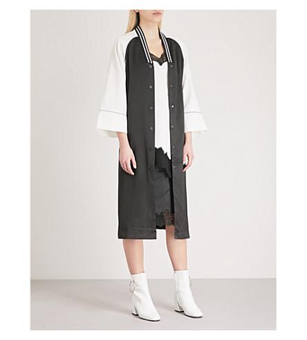 MO&CO. Contrast-sleeve satin jacket (Black