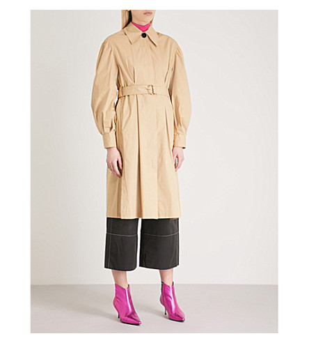 MO&CO. Puffed-sleeve cotton trench coat (Prairie+sand
