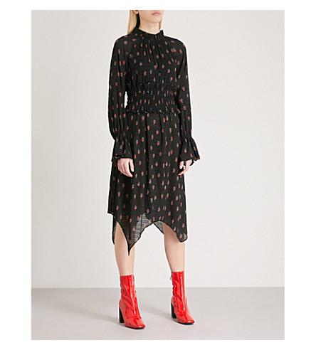 MO&CO. Floral-print pleated chiffon dress (Black+pattern