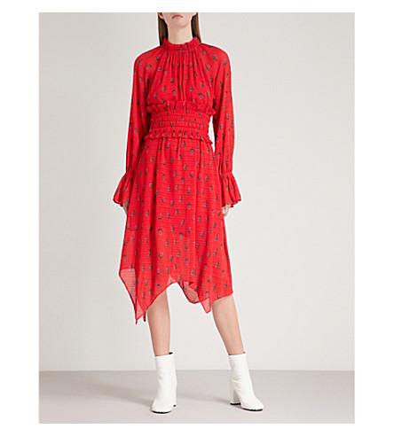 rojo gasa amp; estampado CO floral plisado Patrón MO de Vestido y qUPwnxT4
