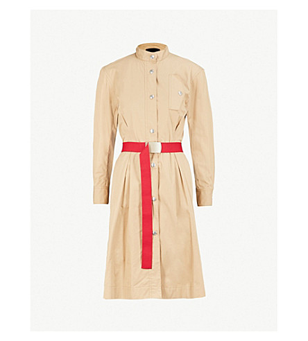 MO&CO. Belted cotton shirt dress (Prairie+sand