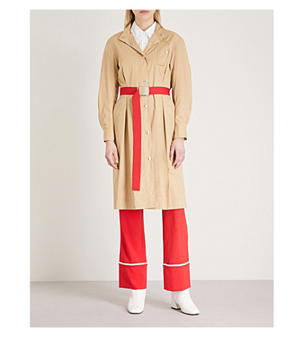 MO&CO. Belted cotton shirt dress (Prairie+sand