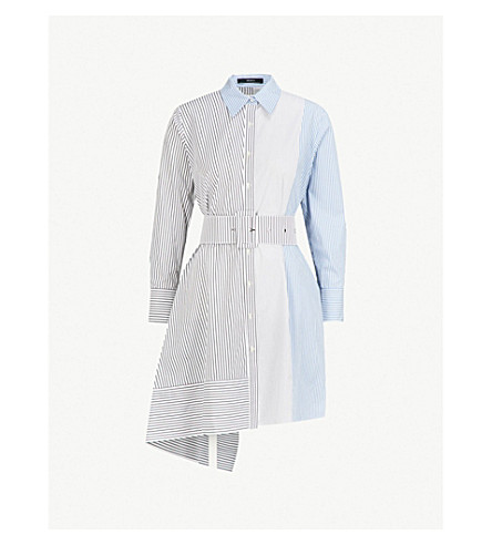 MO&CO. Asymmetric cotton shirt dress (Blue+and+white