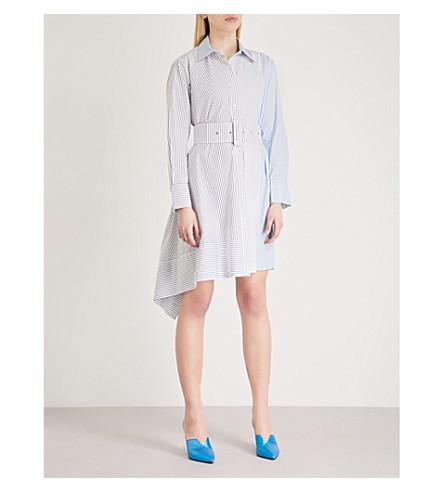 MO&CO. Asymmetric cotton shirt dress (Blue+and+white