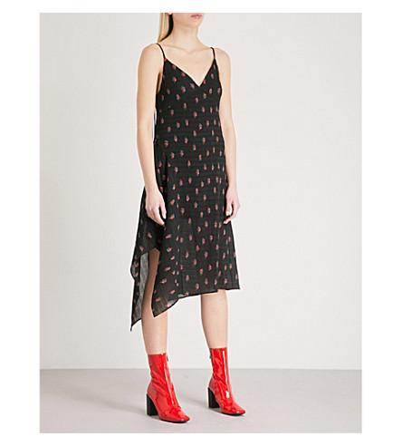 MO&CO. Floral-print crepe midi dress (Black+pattern