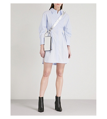 MO&CO. Bracelet-sleeve cotton-blend shirt dress (Skyway