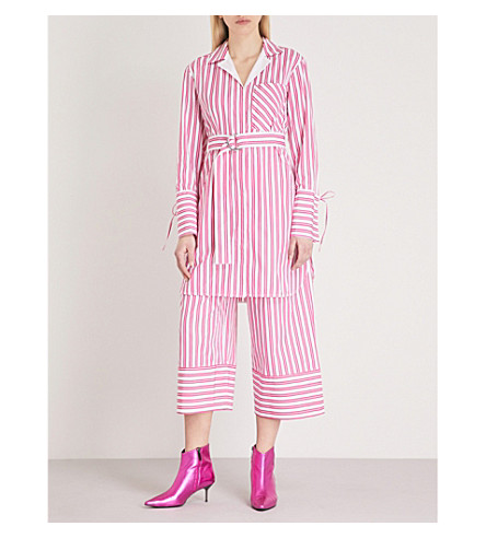 MO&CO. Striped cotton shirt dress (Red+and+white+s