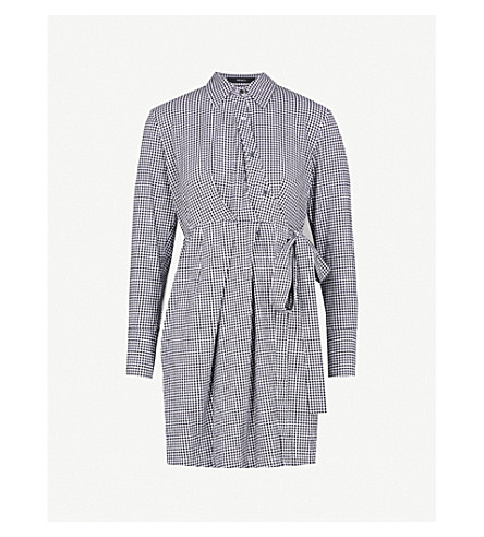 MO&CO. Gingham stretch cotton-blend mini shirt dress (Black+and+white