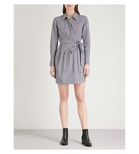 MO&CO. Gingham stretch cotton-blend mini shirt dress (Black+and+white