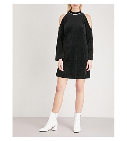 MO&CO. Cold-shoulder velvet dress (Black