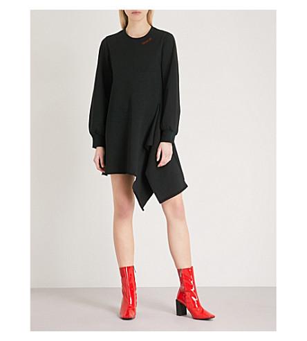 MO&CO. Asymmetric-hem cotton-jersey sweatshirt dress (Black