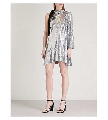 MO&CO. One-shoulder sequined mini dress (Silver