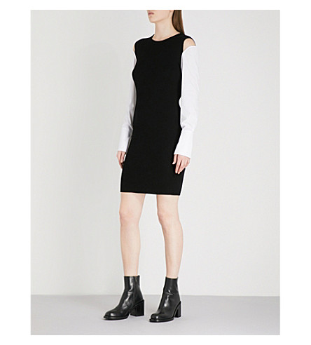 MO&CO. Ribbed knitted dress (Black