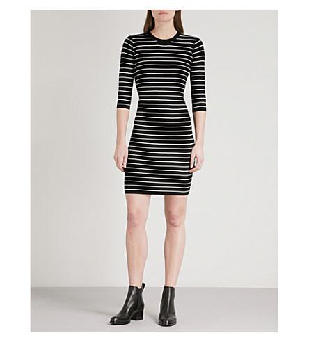 MO&CO. Striped ribbed-knit mini dress (Black+and+white