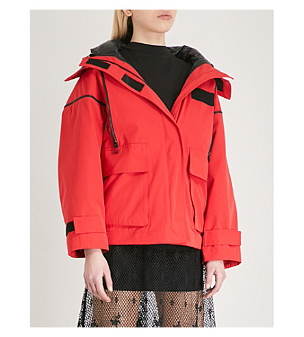 MO&CO. Hooded woven jacket (High+risk+red