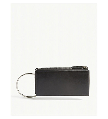 MO&CO. Metallic leather belt bag (Black