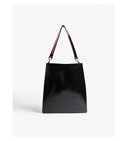 MO&CO. Rectangle leather two-tone shoulder bag (Black