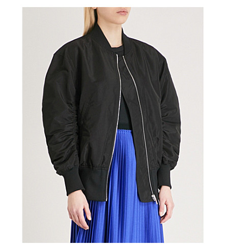 MO&CO. Tulle-layer bomber jacket (Black