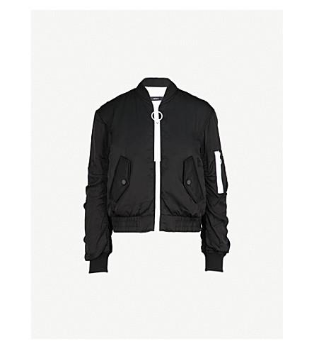 MO&CO. Contrast-detail padded satin bomber jacket (Black