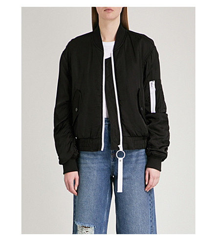 MO&CO. Contrast-detail padded satin bomber jacket (Black