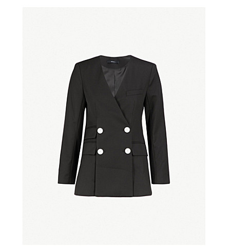 MO&CO. Double-breasted wool-blend jacket (Black
