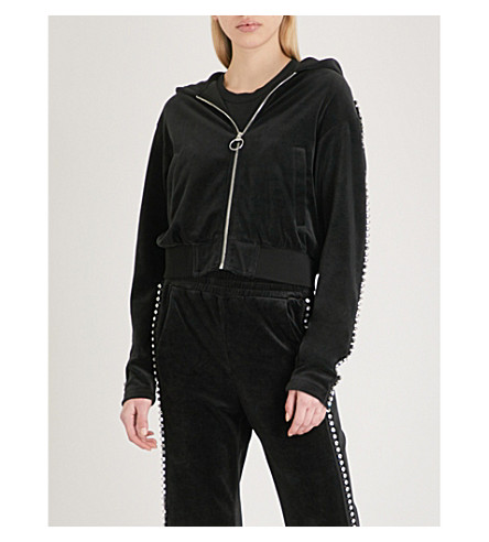 MO&CO. Embellished velour hoody (Black