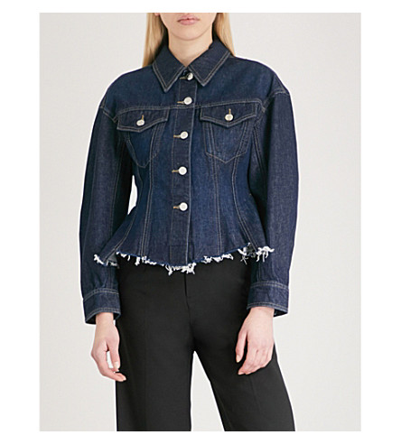 MO&CO. Peplum denim jacket (Blue+denim