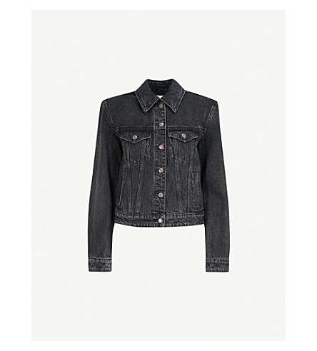 MO&CO. Padded-shoulder denim jacket (Black+denim