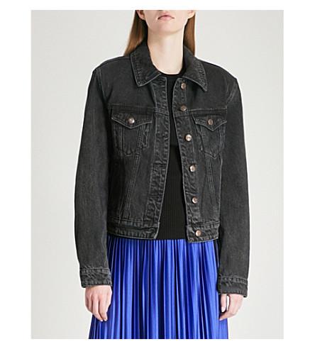 MO&CO. Padded-shoulder denim jacket (Black+denim