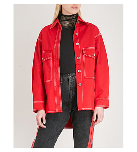 MO&CO. Topstitched denim jacket (High+risk+red