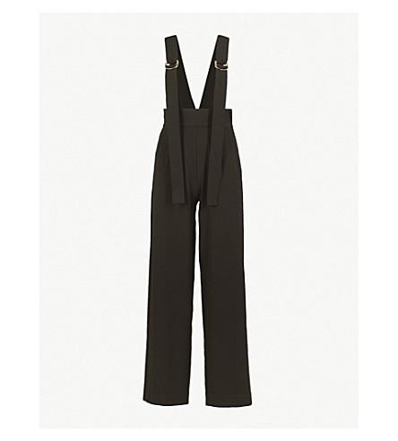 MO&CO. Strap-detail high-rise crepe jumpsuit (Black