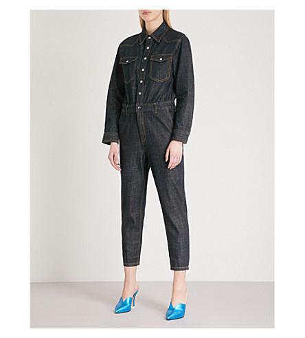 MO&CO. Topstitched denim jumpsuit (Blue+denim