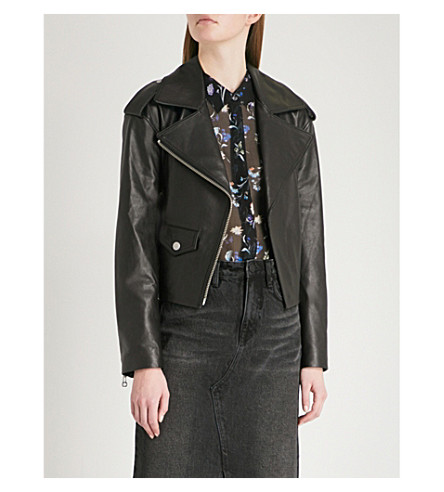 MO&CO. Zipped leather biker jacket (Black