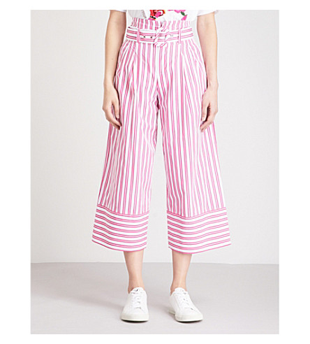 MO&CO. Striped paper bag-waist wide-leg cotton trousers (Red+and+white+s