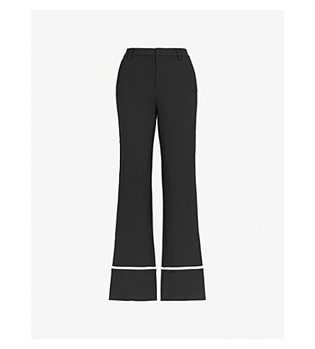 MO&CO. Contrast-piping straight-leg crepe trousers (Black