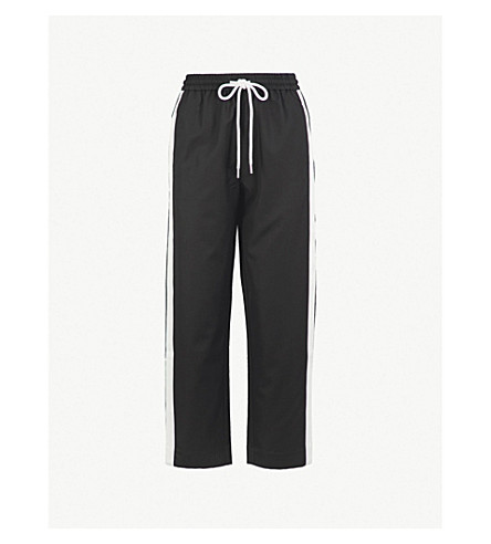 MO&CO. Side-stripe relaxed-fit high-rise wool-blend trousers (Black