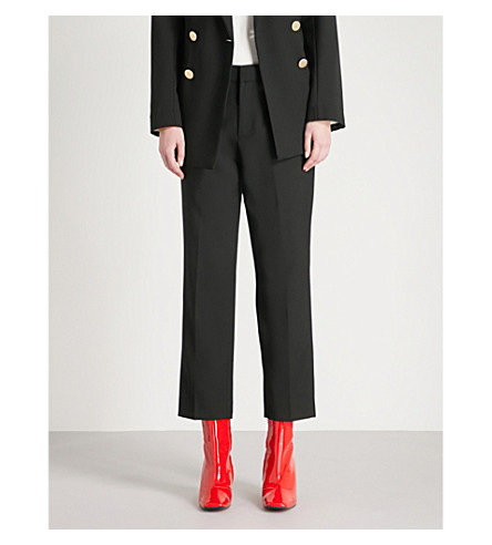 MO&CO. Straight cropped wool-blend trousers (Black