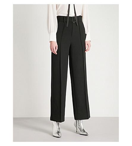 MO&CO. Straight-leg crepe trousers (Black