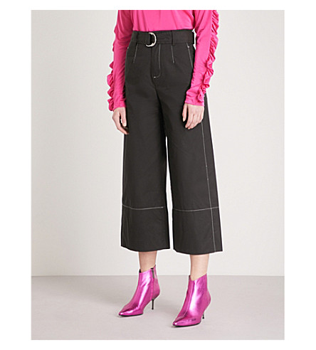 MO&CO. Contrast stitch relaxed-fit cotton trousers (Black