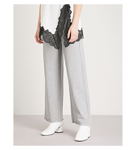MO&CO. Contrast drawstring cotton-blend jogging bottoms (Heather+grey