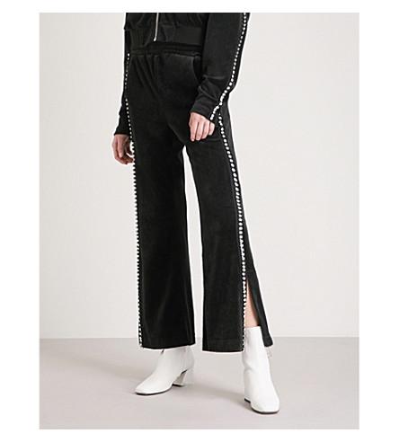 MO&CO. Embellished velour jogging bottoms (Black