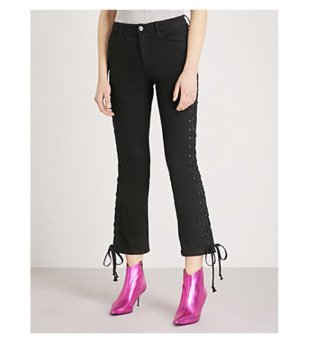 MO&CO. Laced skinny cropped high-rise jeans (Black+denim
