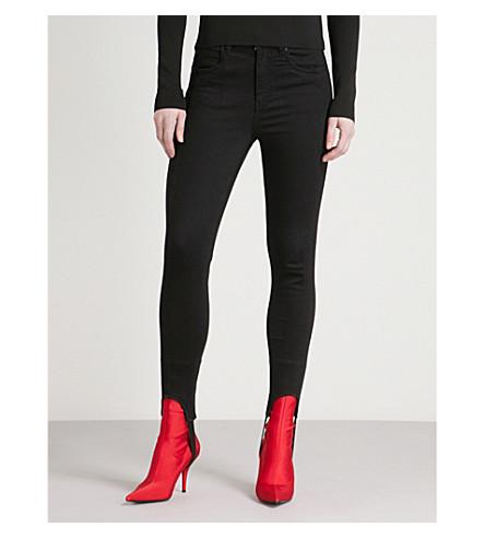 MO&CO. Stirrup skinny slim-fit high-rise jeans (Black+denim