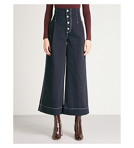 MO&CO. Wide-leg cotton-twill trousers (Peacoat