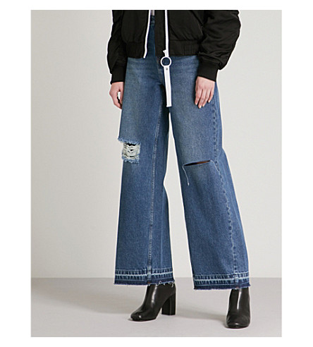 MO&CO. Distressed wide high-rise jeans (Light+denim+blu