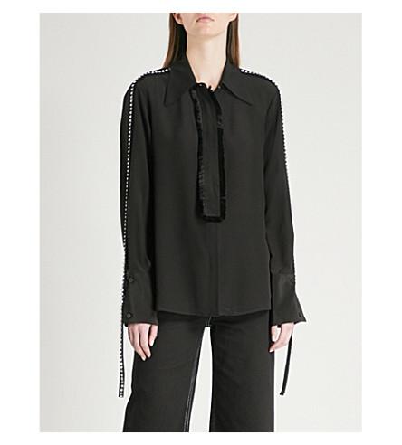 MO&CO. Frayed-trim silk shirt (Black